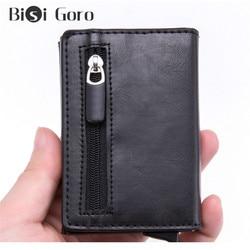 BISI GORO Магнитный закрывающийся кредитный держатель для карт, Смарт RFID блокирующий кошелек для карт, винтажная кожаная сумка для денег, кошел...