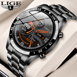 LIGE Smart Watch Steel Band Men Watch Real-time Heart Rate Monitor Weather Push Waterproof Business Smartwatch for Android iOS