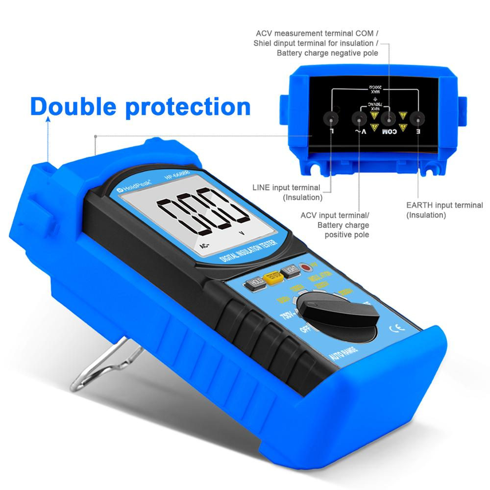 Tools : HoldPeak HP-6688B 5000V Digital Insulation Resistance Tester Professional Voltage Measure Instrument Auto Range Portable Tester