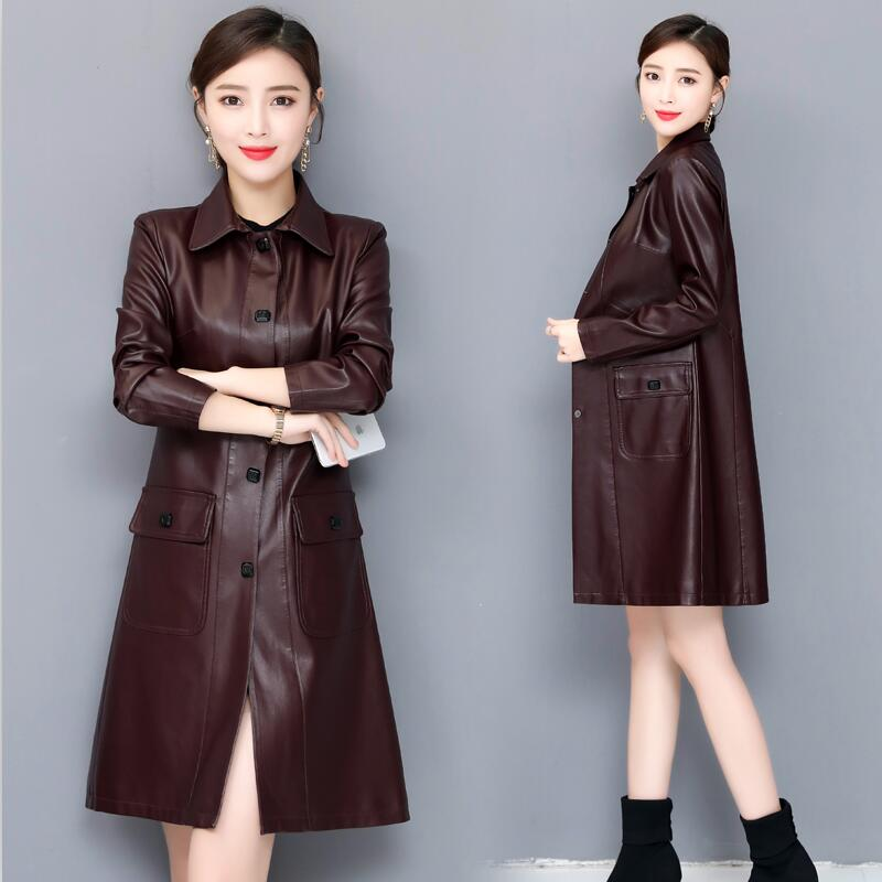 Plus Size 4XL Motorcycle   Leather   Coat Women Spring 2019 New Women's   Leather   Clothing Long Slim   Leather   Jacket Women Black Red