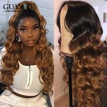 1b 30 ombre 360 perucas dianteiras do laço 150% 180% brasileiro remy onda corpo loira colorido peruca cabelo humano pré arrancado