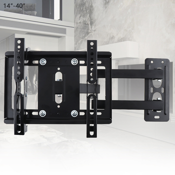 25KG Telescopic Adjustable TV Wall Mount Bracket Flat Panel TV Frame Support 15° Tilt for 14-40Inch LCD LED Monitor Flat Pan image
