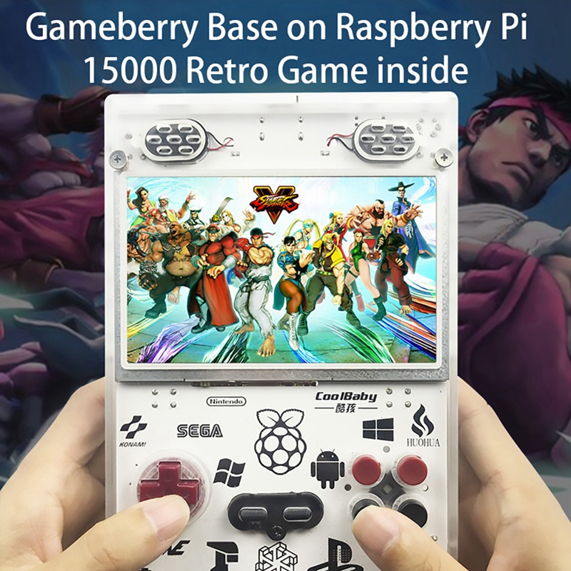 raspberry pi 5.0 Inch IPS Screen Handheld Console for Raspberry Pi Retro Game Player Built-In over 11000 Games Video Game Console(US Plug) (3)