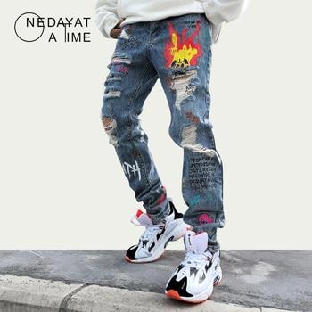 Mens Skinny Jeans Men Non Ripped Stretch Denim Pants Destroyed Ripped Jeans Homme Hip Hop Graffiti Print Denim Jeans Streetwear фото