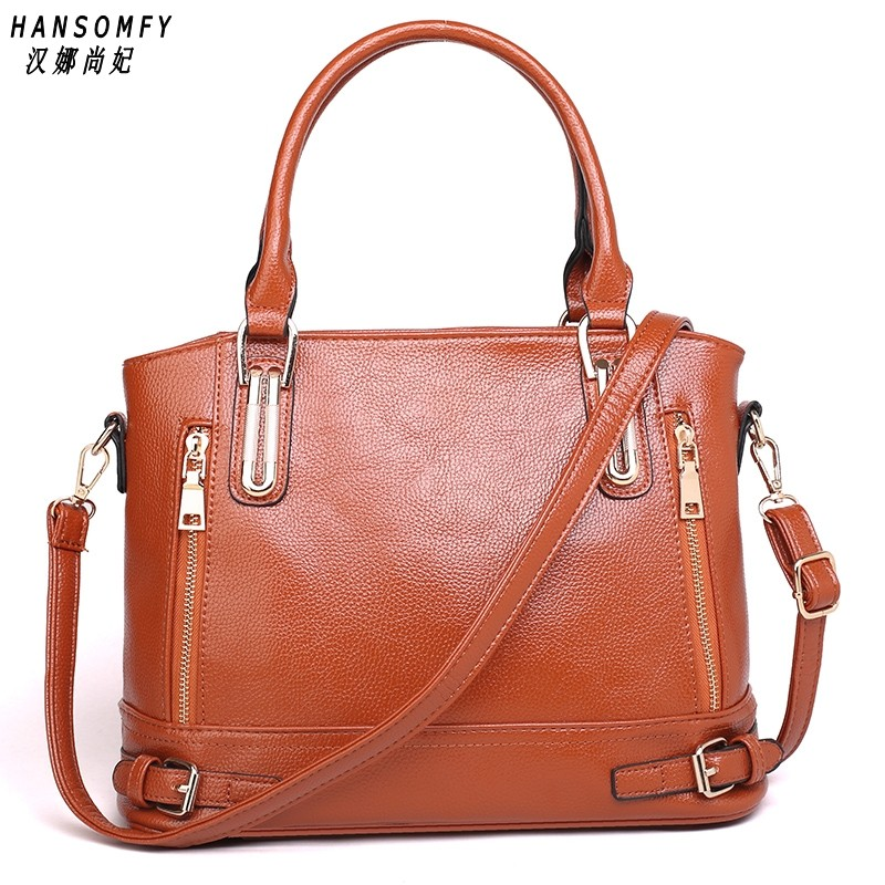100% Genuine Leather Women Handbags 2019 New Women's Handbags Cross-border Handbags Wash Shoulder Bag Diagonal Package
