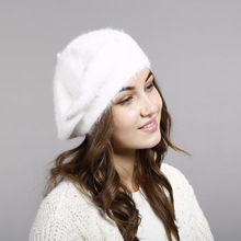 Women Beret Vogue Hat For Winter Female Rabbit Hair Hats Warm Solid Color Lady's