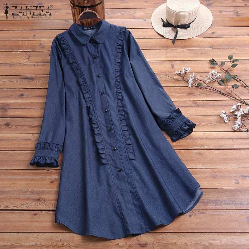 Elegant Women's Irregular Blouse 2020 ZANZEA Ruffle Top Casual Button Down Shirts Female Solid Work Blusas Oversized Tunic 5XL 7