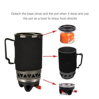 APG 3-IN-1 Pot Bowl Gas Burner Cookware 1400ML Outdoor Camping Stove Picnic Cooking Pocket Gas Stove Outdoor Camping Gas Stove