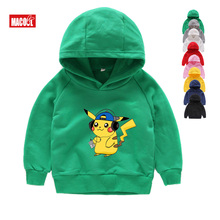 Winter Children Long Sleeves Hoodies Cotton Pokemon Go Boys Girls Tops Tees  for 3-10Years Baby Pikachu Sweatshirts