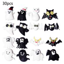 30Pcs Plaksteen Knoppen Halloween Hars DIY Ambachten Versiering Zwart Wit Ghost Bat Kat Uil Scrapbooking Phonecase Decoratie(China)