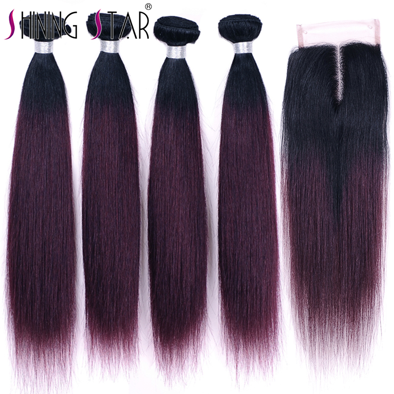 Ombre Malaysian Straight Human Hair Weave Extensions 4 Burgundy Bundles With Closure Shiningstar Grape Purple Hair Weave Remy