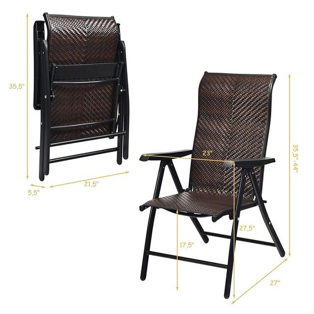 2 Piece Patio Rattan Folding Reclining Chair  6