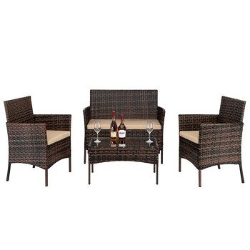 2pcs Arm Chairs 1pc Love Seat & Tempered Glass Coffee Table Rattan Sofa Set Brown Gradient 1