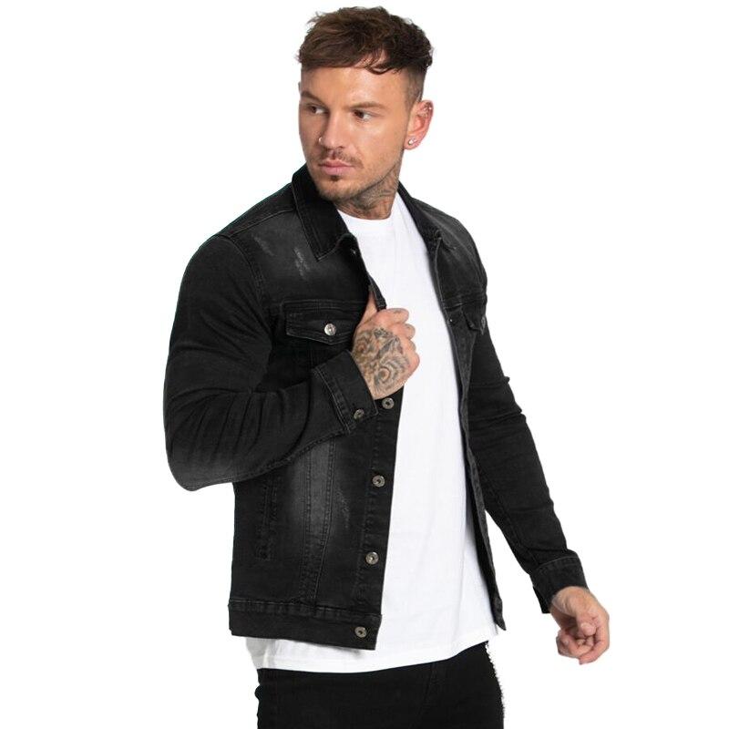 GINGTTO Black Denim Jacket for Men Winter Autumn Mens Jackets and Coats New Arrival Stripe Fashion Skinny Design zm718