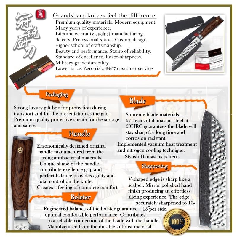 GRANDSHARP couteau de cuisine damas vg10 couteau Santoku japonais damas acier inoxydable outil de cuisine professionnel du Chef coffret cadeau - 6