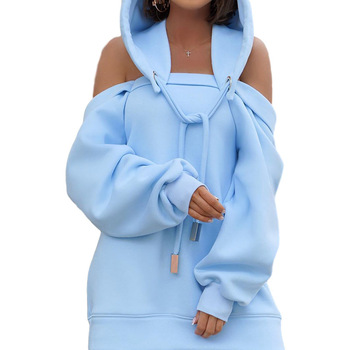 Autumn Winter Hoodie Dresses For Women Off-Shoulder Sweater Shirts Casual Oversize Vestidos Female Hoody Tops 15