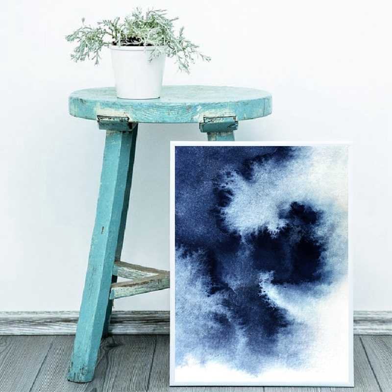 Navy Blue Abstract Painting Prints Bedroom Wall Art Poster Indigo Blue Watercolor Print Wall Picture Living Room Home Decor Painting Calligraphy Aliexpress