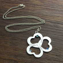 MANBU Custom Necklace 925 sterling silver Personalized Customized Triple Heart with names & Birthstones Silver Jewelry for Gift