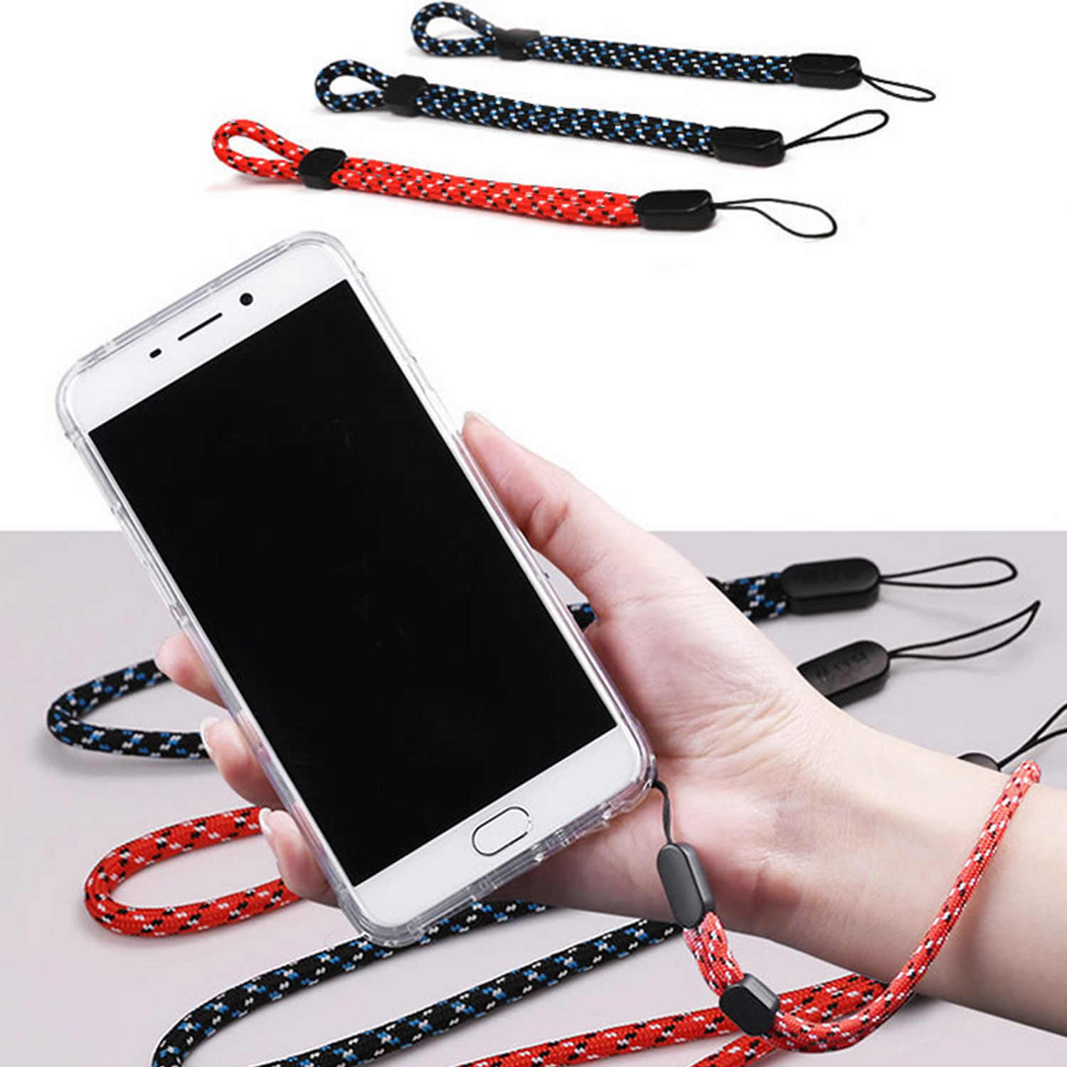 Besegad 5 Pcs Fashion Adjustable Anti-Lost Pergelangan Tangan Tali Lanyard untuk Ponsel USB Flash Drive Kunci Pesona kamera Nama:
