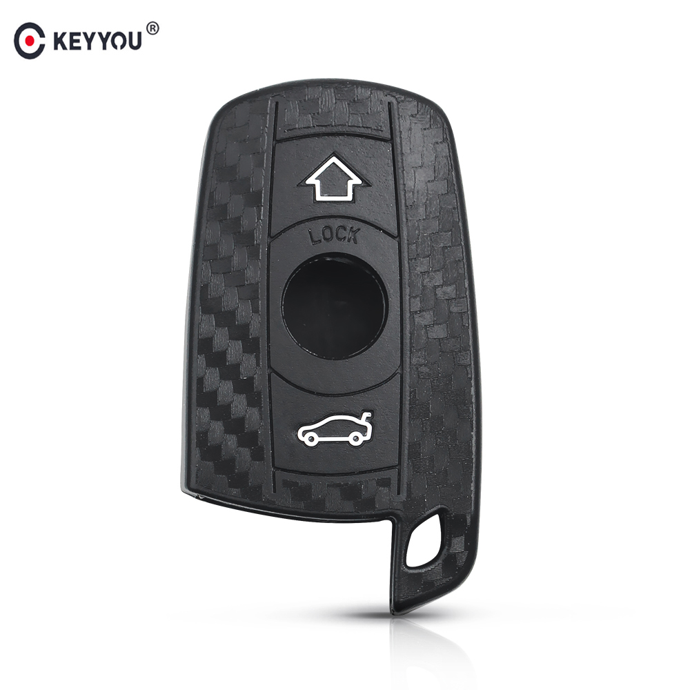 KEYYOU For BMW X1 X5 3 5 Series E90 E91 E92 E60 Fob Carbon Fiber Silicone Car Key Remote Key Cover Key Case Car Accessorie