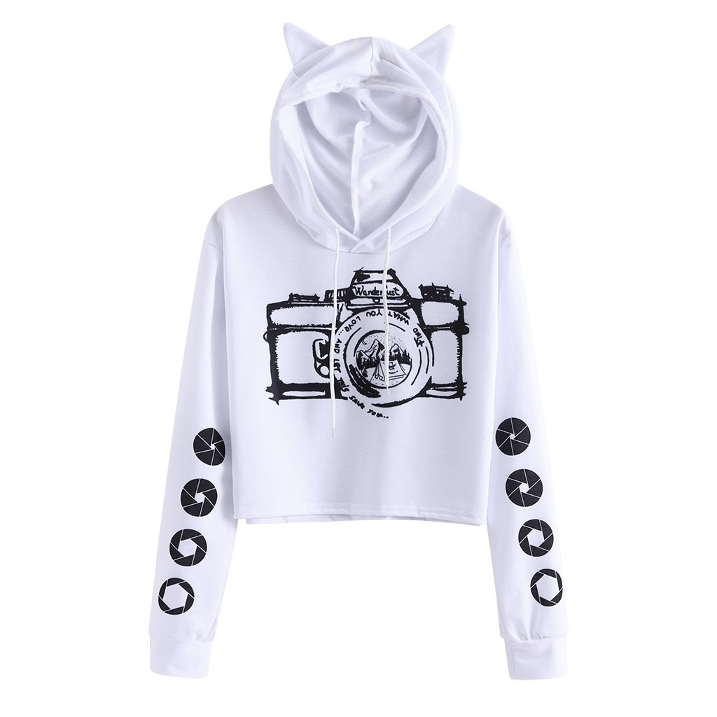 JAYCOSIN Ladies Autumn And Winter Fashion Camera Print Sweatshirt Cat Ears Hooded Pop Sweatshirt Short Paragraph High Daily