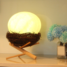 3D Printed Bird Nest LED Moon Lamp Colorful Change Touch LED Night Light with Wood USB Charging Base PVC Bedroom Decor