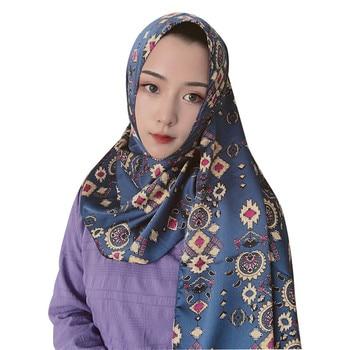 2020 muslim silk headscarf ethnic print satin scarf hijab for women islamic turban headwrap turkish hijab shawl femme musulman new 100% silk jacquard square hjiab muslim scarf turban ultralight retro shawl turkish hijab women islamic headscarf 1pc