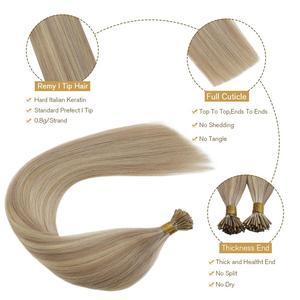 Ugeat I Tip человеческие волосы для наращивания Remy, кератиновые Fusion волосы 14-24 , яркие цветные волосы, Предварительно Связанные волосы, 0,8 г/пряд...