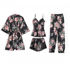 Image 2 - 5 шт. пижамный комплект для сна женская ночная рубашка с V образным вырезом кружевная Пижама пикантная ночная рубашка халат домашний костюм неглиже весенний Халат