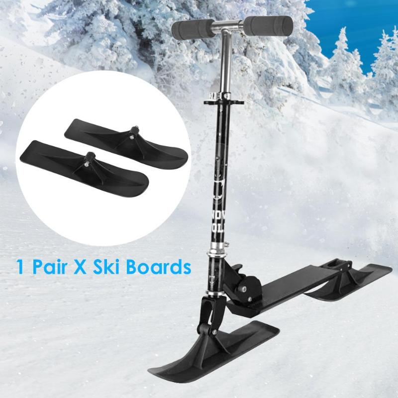 Durable Ski Boards Classic Delicate Texture 2pcs Universal Ski Board 2 In 1 Winter Outdoor Sports Scooter Parts Accessories