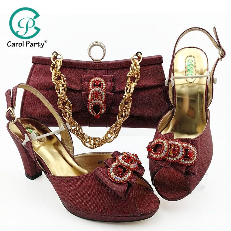 Wine Color Fashion Italian Design Shoes And Bag Set Top Selling African Woman High Heels Party Shoes And Matching Bag Set-in Women's Pumps from Shoes    1