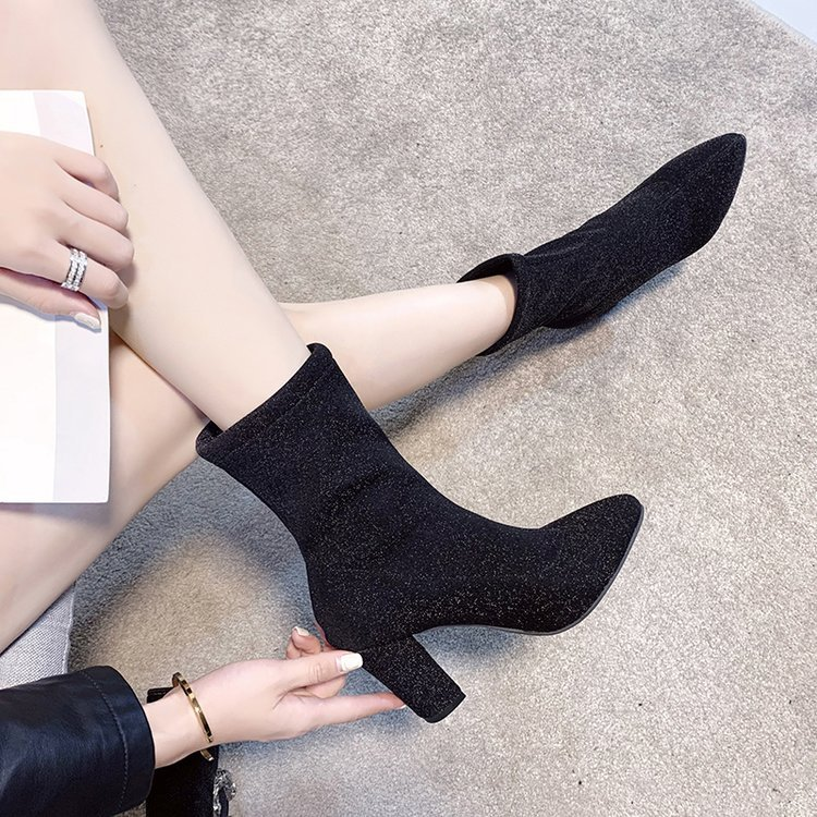Ankle Boots Children 2019 Autumn New Style Thin Small Heel Short Boots Plus Velvet Chunky High Heel Shoes Autumn & Winter Ankle