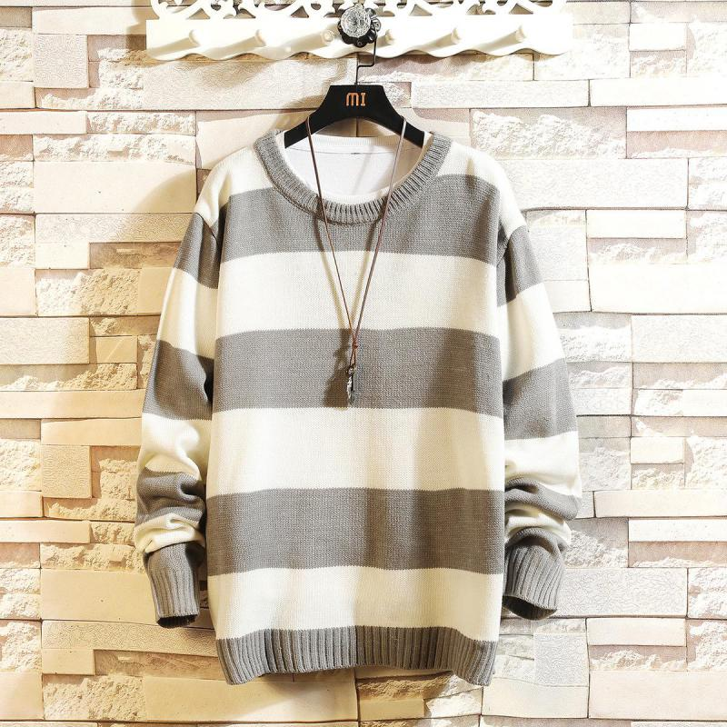 Men's Fashion Japanese Striped Round Neck Pullover Sweater Youth Casual Bottoming Sweater Men Sweater