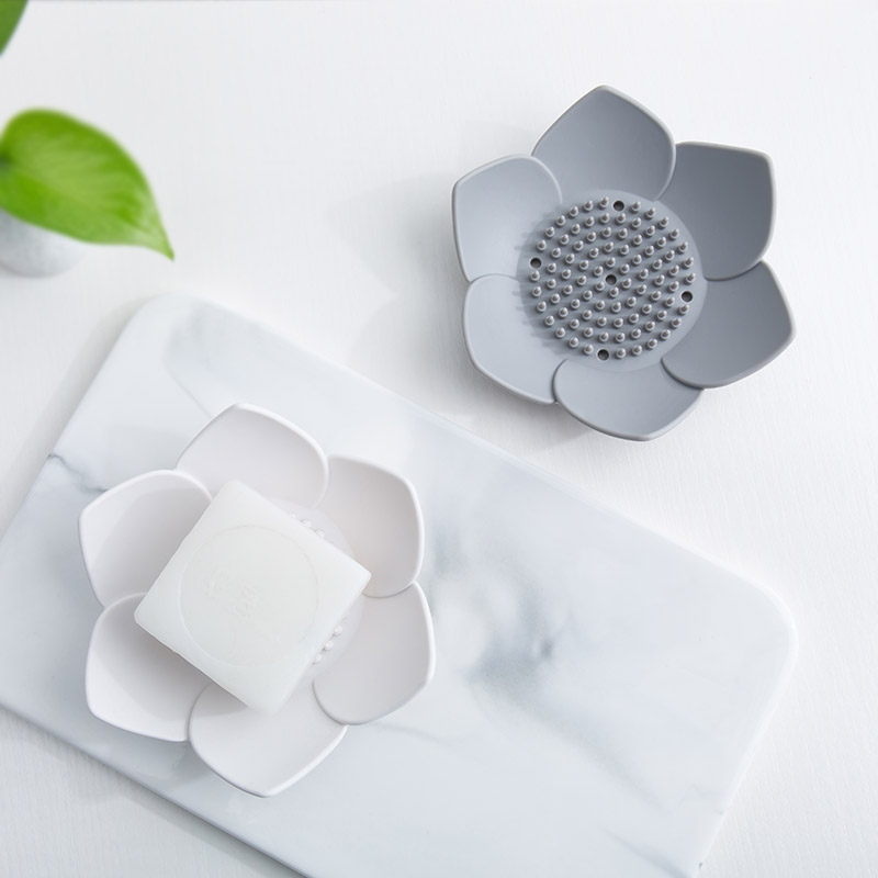 Silicone Kitchen Soap Drain Tray Soap Box Lotus Shape Soap Dish Flexible Silicone Gray White Bathroom Shower Plate Drain Holder