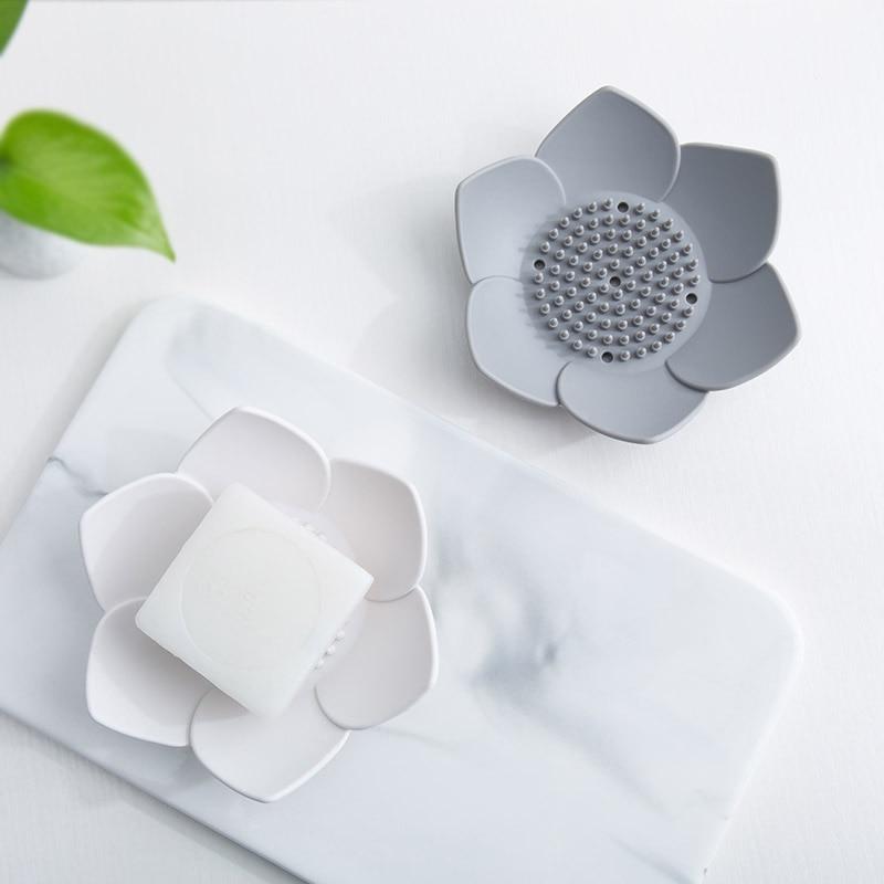 Silicone Kitchen Soap Drain Tray Soap Box Lotus Shape Soap Dish Flexible Silicone Gray White Bathroom Shower Plate Drain Holder