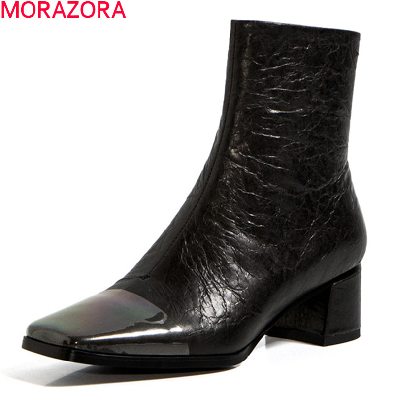 MORAZORA 2020 Women boots genuine leather boots med heels square toe solid color ladies shoes autumn winter ankle boots