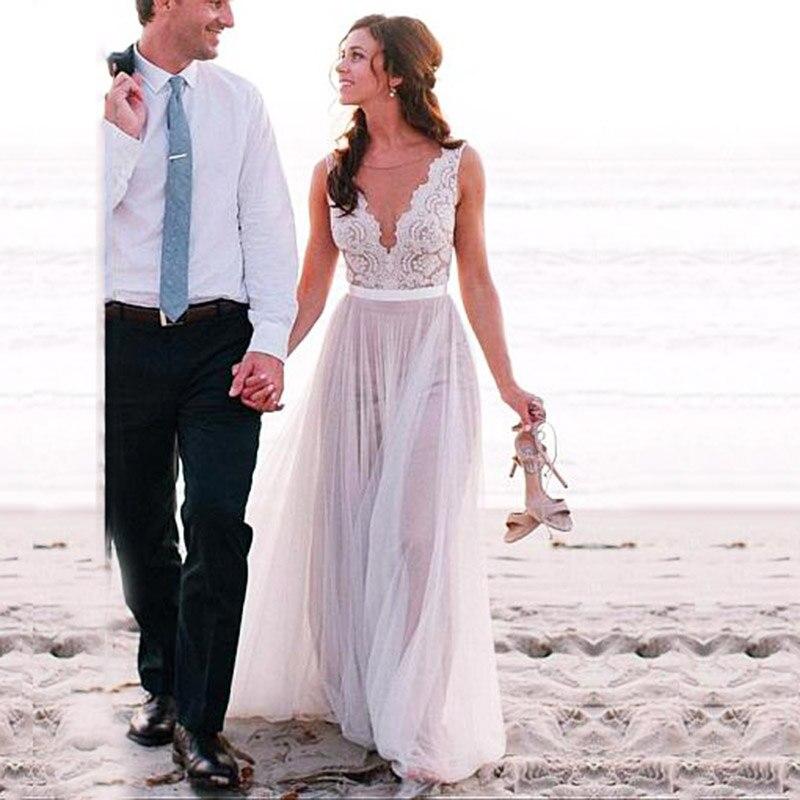 Boho Elegant Wedding Dress 2019 V Neck Lace Appliques Bridal Gown Custom Made Beach Wedding Dress New Design Vestido De Noiva