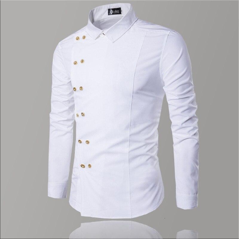 Casual Men White Shirt Double Button Luxury Men Shirt Cotton Slim Fit Men's Long Sleeve Shirts Dress Fashion Dress Shirt For Men