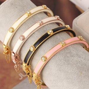 Image 5 - Европейские и американские ювелирные изделия, оптовая продажа, эмалированная цветная глазурованная Мода, простая вставка с заклепками, разноцветный браслет для девочек