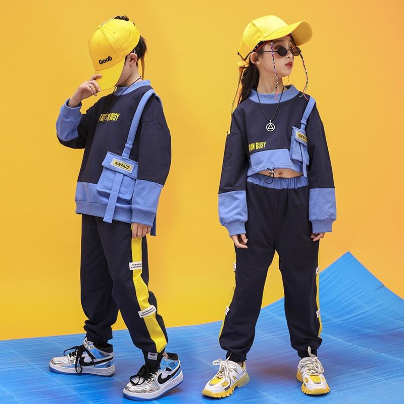 Kid Cool Hip Hop Clothing Sweatshirt Shirt Top Crop Running Casual Pants For Girls Boys Jazz Dance Costume Dancing Clothes Wear