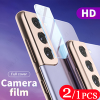 2/1 pzas para Samsung Galaxy S21 más S20 FE Ultra S10 lite 5G S10E S9 S8 protector de cámara de la Lente de la Cámara Film protector de pantalla de cristal