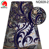 NQ928 DHL So beautiful Sequins Lace 5yards/pc Nigeria velvet with gold sequins embroidery Net lace fabric for Bride and show