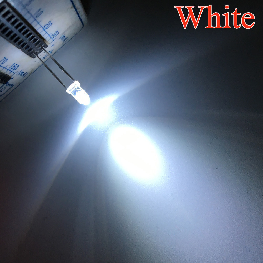 100pcs White F3 3MM ROUND Water Clear LED Light