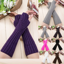 Fashion Womens Gloves Diagonal Stripes Fingerless Ladies Winter Half F