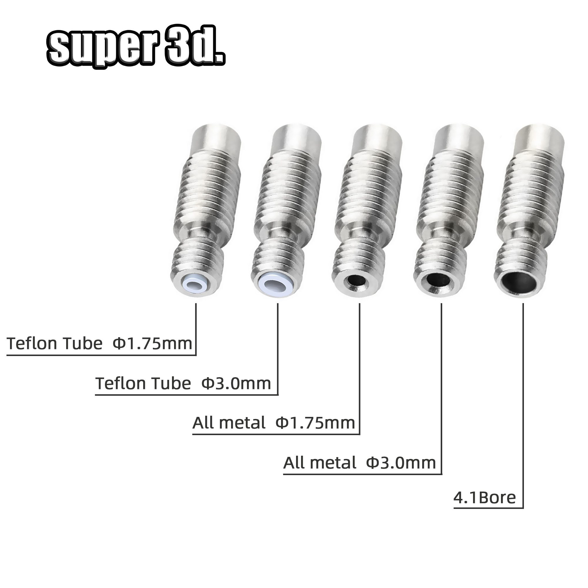 5pc V6 Heat Break Throat For 1.75 / 3.0/4.1 Mm  All-Metal / With PTFE Stainless Steel For E3D 3D Printer Bowden / Wade Hotend
