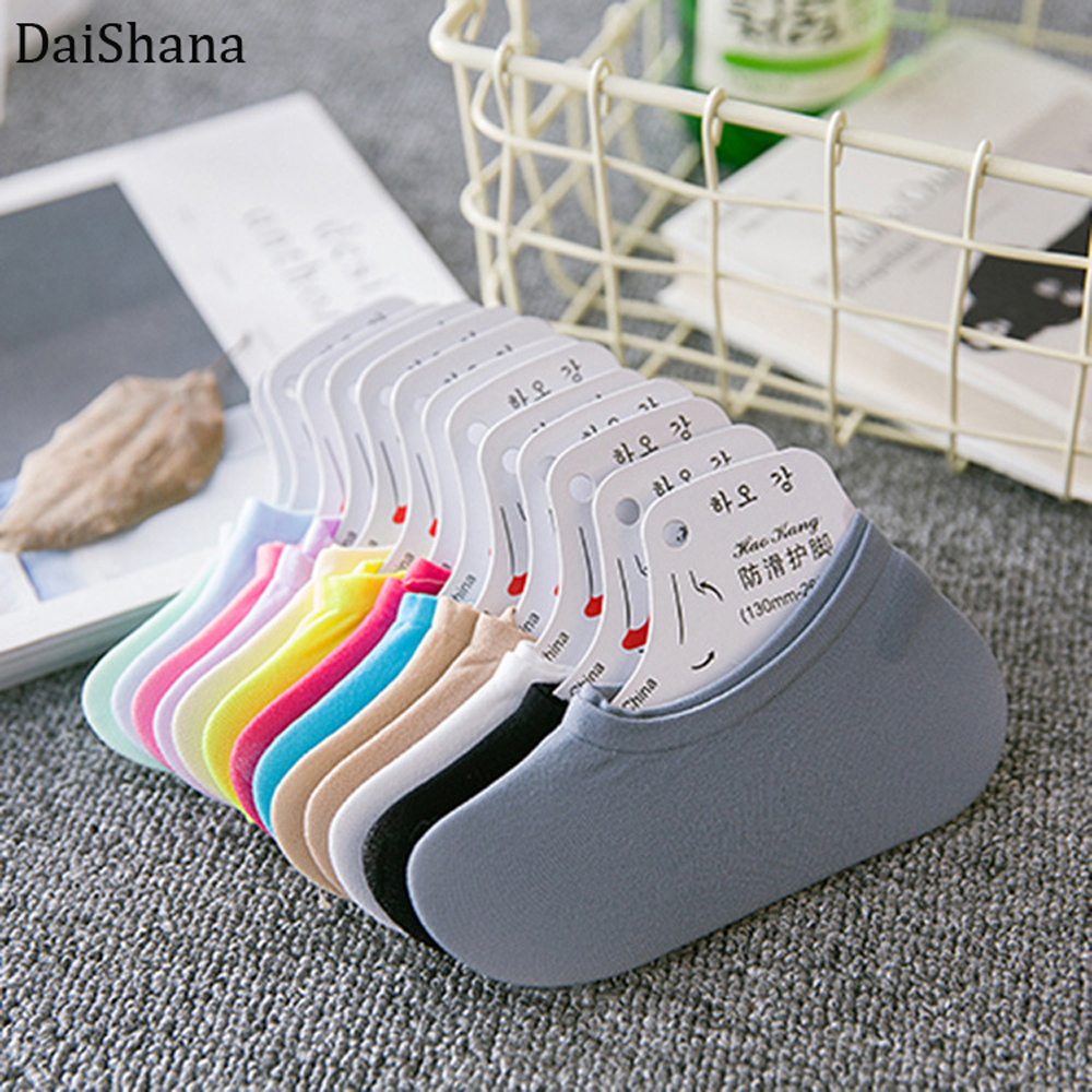 DaiShana Candy Color Women Ankle Sock Funny Cute Solid Color Plush Boat Sock Summer Candy Color Invisible Nop-slip Low Cut Socks