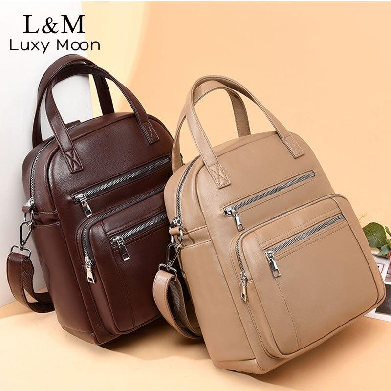 Candy Color Leather Backpack For Women 2020 Travel Backpacks Female Schoolbag Fashion Hand Rucksack Shoulder Bag Mochila XA641H