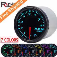 "7 color 2"" 52mm tacometro rpm meter LED Car Auto Tachometer Gauge gauge vacuum car Meter Pointer Universal for boat motor"