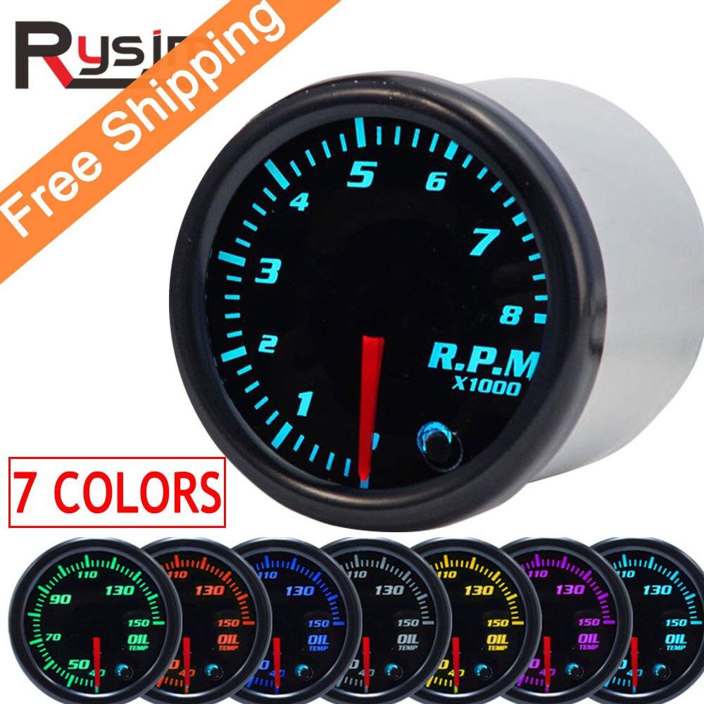 "Tacómetro de 7 colores 2 ""52mm, medidor de rpm LED, tacómetro automático para coche, medidor de vacío para coche, indicador Universal para motor de barco"