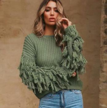 tassel  Red Sweater with Fringe Sleeves Women Sexy Loose Long Sleeve Knitted Jumpers 2020 Autumn Winter Female Pullovers